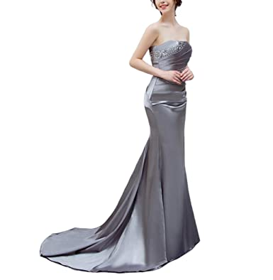 Venus Bridal Formal Women Mermaid Evening Gown Satin Lace up Sweetheart Beading Prom Dress Silver US2