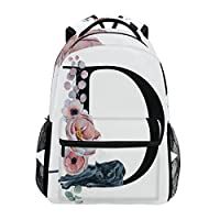 TropicalLife Letter D with Flower Backpacks Bookbag Shoulder Backpack Hiking Travel Daypack Casual Bags