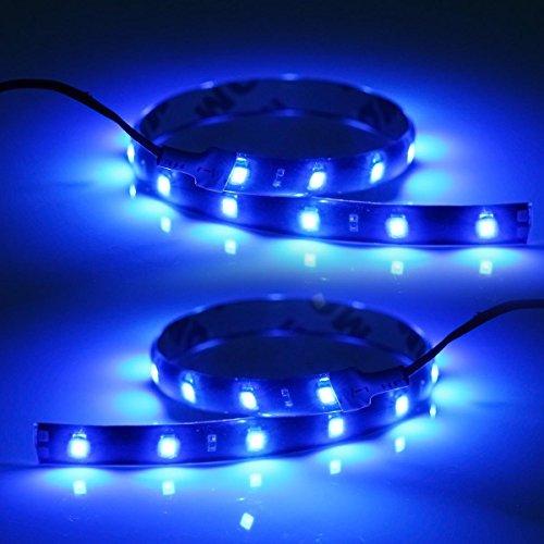 Partsam 2x Blue Led Strip Lights Interior Glow Neon Lighting Car Truck Suv 12 15 3528 Smd