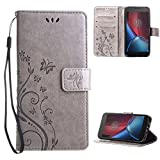 "Moto G4 / G4 Plus Case , Leathlux [Stand Function ] Fashion Retro PU Leather Wallet Case Flip Protective Cover with Card Slots & Wrist Strap for Moto G4 / Moto G4 Plus 5.5"" Gray"