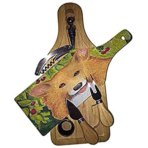 Welsh Corgi with Cherries by Denise Every Wine & Cheese Set Glass Cutting Board