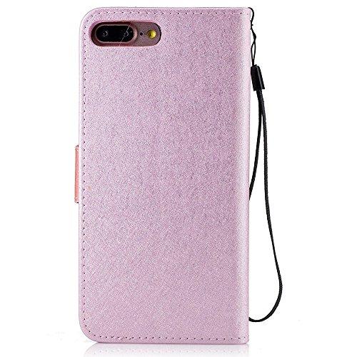Silk Texture Two-color Stand Leather Wallet Tasche Hüllen Schutzhülle - Case für iPhone 7 Plus - Pink