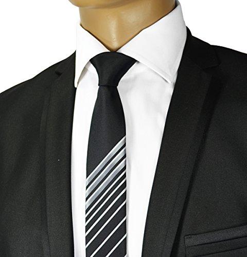 Black and Silver Panel Slim Tie