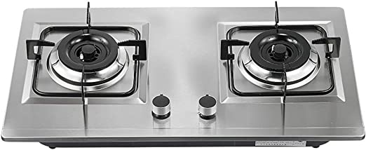 LQ-Hornillo Placas de Cocina de Gas, Cocina de 2 quemadores de Acero Inoxidable de bajo