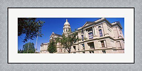 Low angle view of a government building, Wyoming State Capitol, Cheyenne, Wyoming, USA by Panoramic Images Framed Art Print Wall Picture, Flat Silver Frame, 34 x 17 inches
