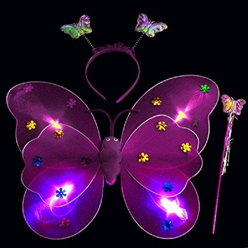 Promisen Girls Led Flashing Light Fairy Butterfly Wing Wand Headband Costume Toy (purple)