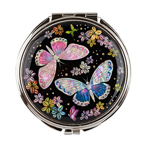 Compact Makeup Mirror Travel Magnifying Double Sided Mother Of Pearl Butterfly mms26 Butterfly Compact