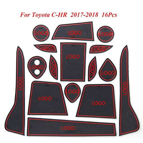 16pcs Replacement for Toyota C-HR CHR 2018 Non-Slip Door Slot Mat Cup Holder Panel Pads Interior Cushion