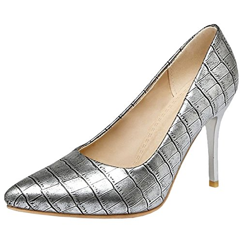 With Party Dress Elegant Shoes Stiletto Print Women COOLCEPT Court Silver IPqwx0t