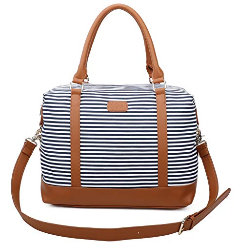 Ulgoo Travel Tote Bag Carry On Shoulder Bag Overnight Duffel in Trolley Handle (Blue&White Stripe)