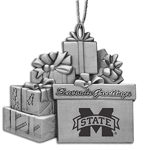 Mississippi Bulldogs Holiday State Ornament (Mississippi State Univerty - Pewter Gift Package Ornament)