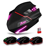 Chezaa Wireless Mouse, 3200DPI, 2.4GHz LED Light 7 Color Change ZELOTES F-18 Dual-mode Gaming Mouse (Black)