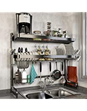Over Sink Dish Drying Rack, Loyalfire 2 Tier Full Stainless Steel Large Storage Adjustable Kitchen Dish Rack (24.41''-37.6''), Expandable Dish Drainer Shelf Rack with Utensil Holder, Cup Hanging Set