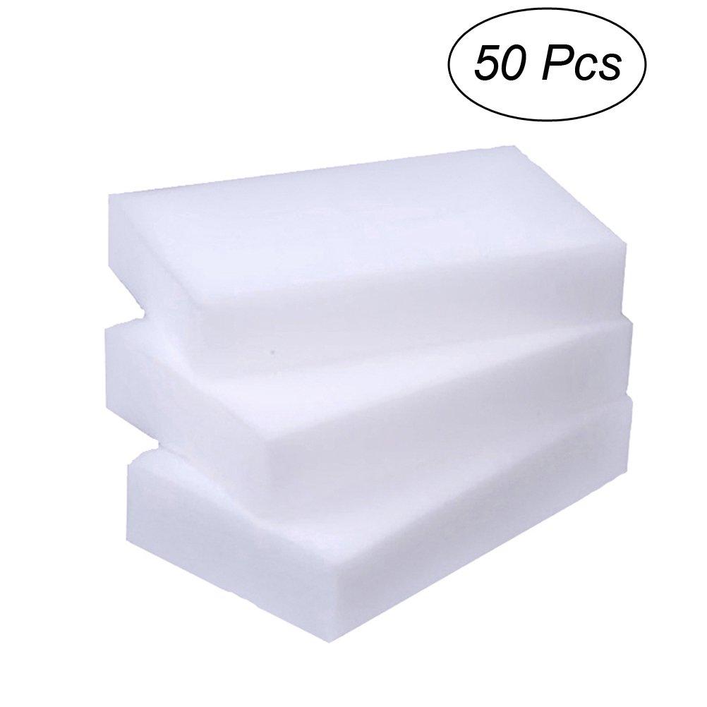 OUNONA 50pcs esponjas de limpieza extra alta densidad Durable Nano limpieza m/ágica almohadillas borrador fuerte descontaminaci/ón cepillo de lavado para cocina ba/ño blanco