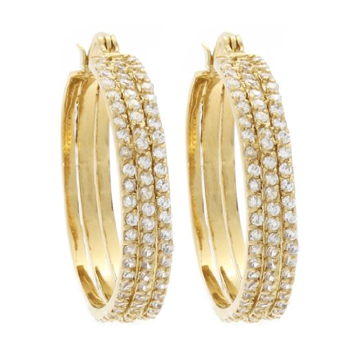 Marco Francisco 14k Gold Overlay Cubic Zirconia Triple Hoop Earrings ()