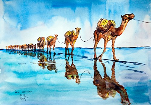 Caravan Of Camels original watercolor wild animal - Original Caravan