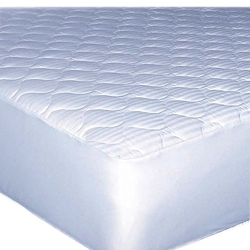 Hotel Stripe 250 TC 100% Cotton Extra Deep Mattress Pad - - Mattress Damask Pad Cotton