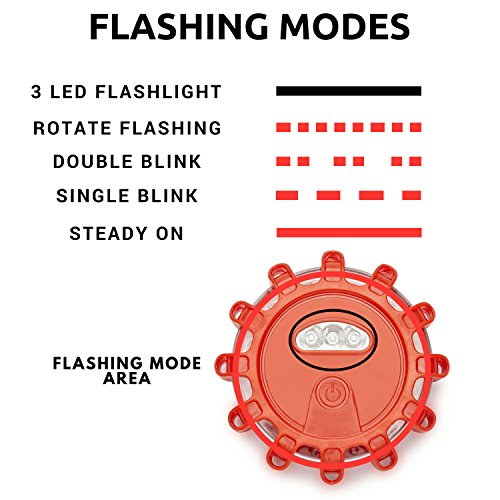 (3 LED Kit + Safety Triangle) Red LED Road Flares, Emergency Disc Roadside Safety Light Flashing Road Beacon for Auto Car Truck. by AUSDAUER Safety … (Bonus Safety Triangle) by AUSDAUER SAFETY (Image #5)