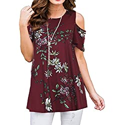 PrinStory Women's Short Sleeve Casual Cold Shoulder Tunic Tops Loose Blouse Shirts Floral Print Wine Red 2XL