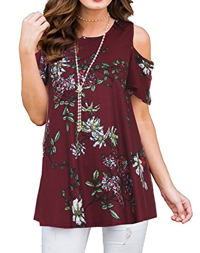 PrinStory Women's Short Sleeve Casual Cold Shoulder Tunic Tops Loose Blouse Shirts Floral Print Wine Red M