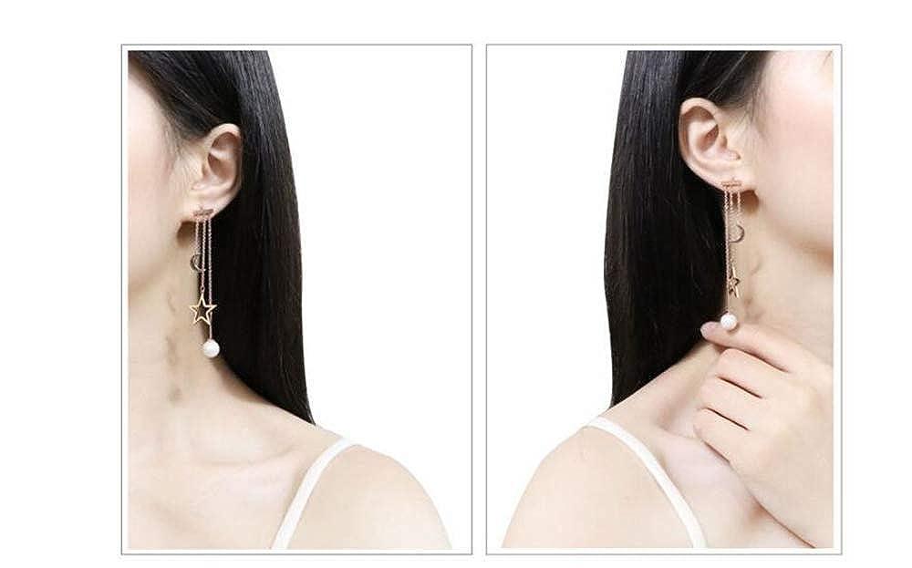 Fashion ElegantSilver Crystal Long Dangle Pearl Stud Drop Earrings Jewelry