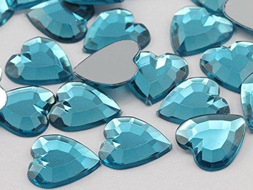 15mm Blue Aqua Lite .QR120 Flat Back Heart Acrylic Gemstones High Quality Pro Grade - 40 Pieces