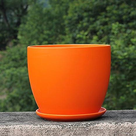 Amazon.com & Ceramic Orange Color Home/ Garden Round Flower Planter Pot with Saucer Tray