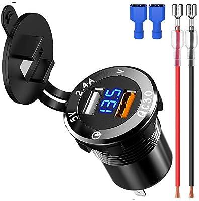 Samoleus Cargador de Coche, Dual Quick Charge 3.0 Puerto Cargador USB Móvil para Teléfonos Móviles, Tabletas, iPad, Navegación y GPS, Motocicletas, ...