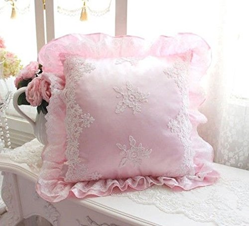 Princess Girl Pink Pillow Cushion Cover* Lace French Country Cottage Shabby Chic (45x45cm(18