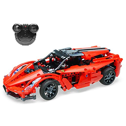 (The perseids DIY Building Kit Car, 2.4 Ghz Remote Control Vehicle in Red 380 pcs USB Rechargeable, Gift 6-14 Years Old Boys Girls)