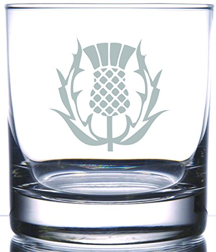 IE Laserware Scottish Thistle permanently etched on Rocks glass.