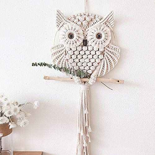 zenggp Owl Tapestry Hand-Woven Macrame Home Wall Decoration Cotton Line Macrame Tassel Wall Hanging ()