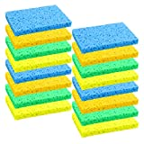 Elcoho 16 Pack Cleaning Scrubbing Sponge Wood Pulp Cellulose Scrub Sponge Non-Scratch and Non-Stick for Kitchen Removing Hard Dirt, Oil, Assorted Colors (4 Colors)