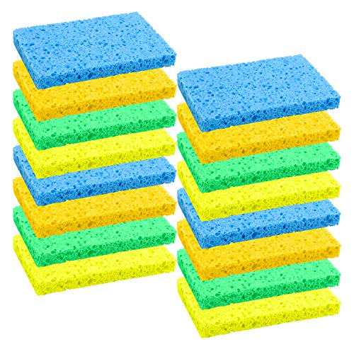 Cellulose Scrub Sponge - Elcoho 16 Pack Cleaning Scrubbing Sponge Wood Pulp Cellulose Scrub Sponge Non-Scratch and Non-Stick for Kitchen Removing Hard Dirt, Oil, Assorted Colors (4 Colors)