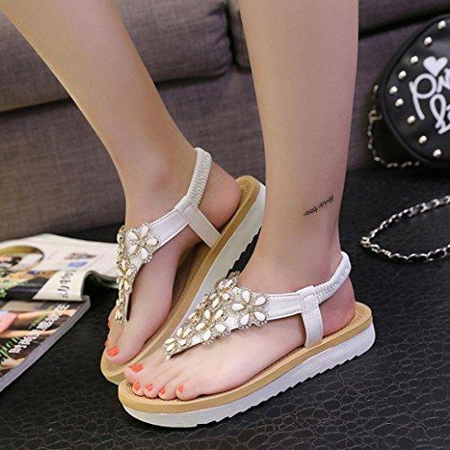 blanco verano zapatos estilo sandalias cuentas con Jamicy planas moda bohemio mujer 6qH55vn4