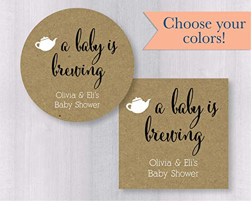 Baby is Brewing, Rustic Kraft Shower Coffee or Tea Favor Stickers (#245-KR)