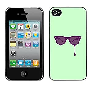 Be Good Phone Accessory // Dura Cáscara cubierta Protectora Caso Carcasa Funda de Protección para Apple Iphone 4 / 4S // Glasses Paint Art Eyes Purple Painting Drawing