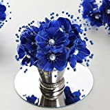 royal blue centerpieces - BalsaCircle 72 Royal Blue Faux Pearl Craft Beaded Flowers - Mini Flowers for DIY Wedding Birthday Party Favors Decorations Supplies