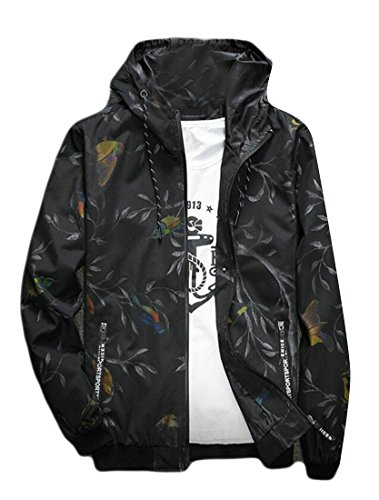 Hokny TD Menâ€s Stylish Print Lightweight Hooded Jacket Windbreaker Hoodie Coat 5 XXL Mena Coat