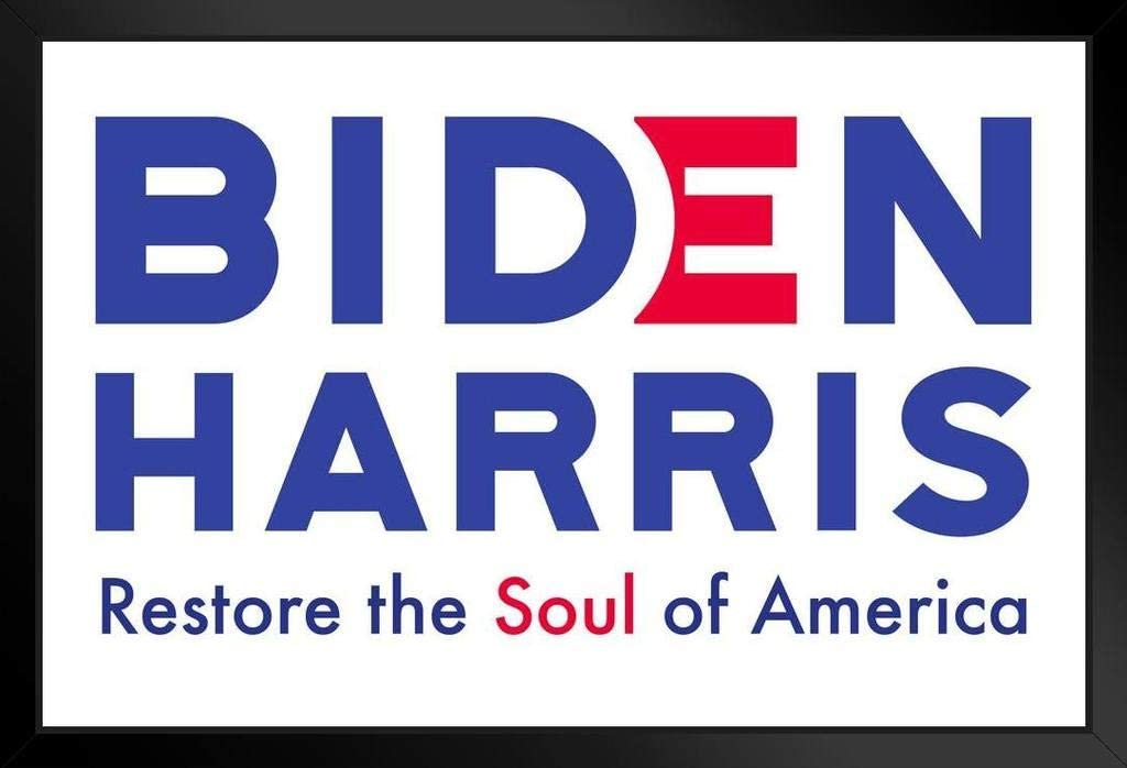 Amazon Com Biden Harris 2020 For President Restore The Soul Of America Vote Democrat Presidential Election Campaign Black Wood Framed Poster 14x20 Posters Prints