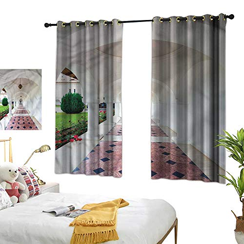 "Warm Family Travel Thermal Curtains Arched Colonnade Hallway 70%-80% Light Shading, 2 Panels,63"" Wx63 L"