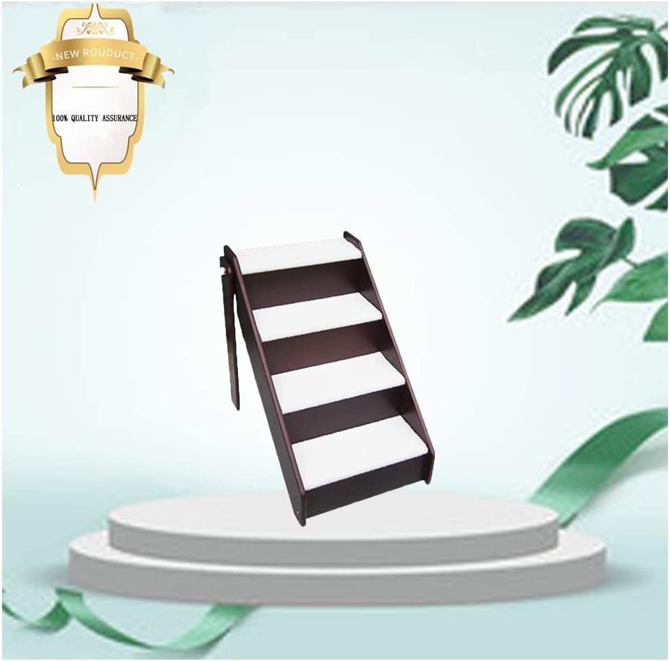 ペットステップRZBAO折り畳み式木製ペット階段、4つのステップ、ショートぬいぐるみカーペット、犬ステップラダー椅子、ソファー、ソファ、トラック、車 (Color : Brown, Size : 63x46x59cm)