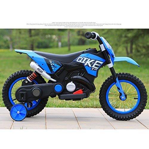 BAKAJI Moto Motocicletta Elettrica per Bambini Cross Rosso Ruota in Gomma Minimoto 6V Giochi Motocross Due Ruote Quike Blu Motorcycle con Rotelle