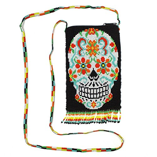 "BG610 Rare Day of the Dead Purse Glass Beaded Bag Sugar Skull Design Guatemala from ""Handmade"""