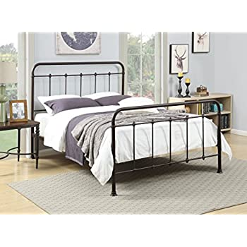 pulaski queen brown curved all in one metal bed - Iron Bed Frame Queen