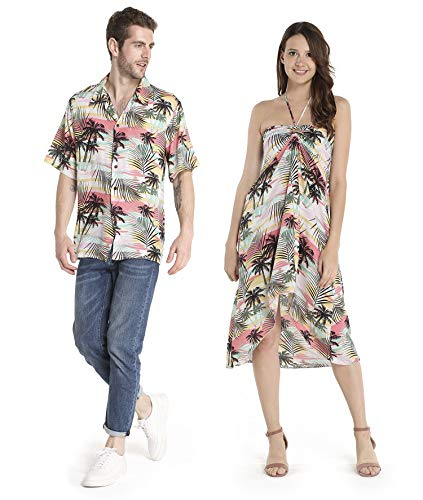 Couple Matching Hawaiian Luau Party Outfit Set Shirt Dress in Neon Sunset Men L Women -