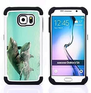 """Pulsar ( Trullo Subacuáticas Animales Pareja"""" ) Samsung Galaxy S6 / SM-G920 SM-G920 híbrida Heavy Duty Impact pesado deber de protección a los choques caso Carcasa de parachoques [Ne"""