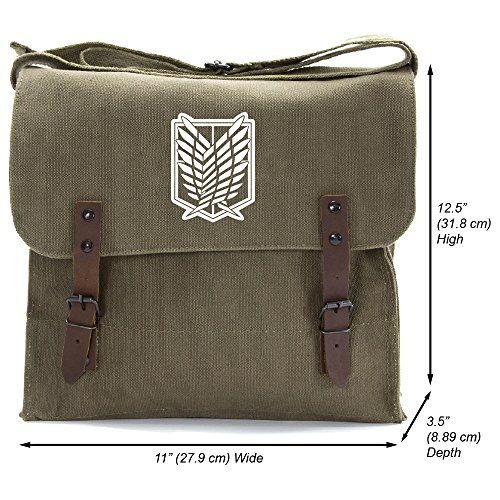 Wing Dual (Attack on Titan Dual Wing Heavyweight Canvas Medic Shoulder Bag, Olive & White)