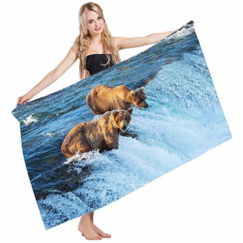Mugod Beach Towel Bath Towels Africa Grizzly Bear in The Stream River Fishing Alaskan Salmon Savage Carnivore Animal Yoga/Golf/Swim/Hair/Hand Towel for Men Women Girl Kids Baby 64x32 Inch