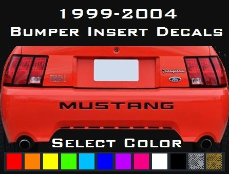 MUSTANG Rear Bumper Decals Letter Insert Stickers 1999-2004 SELECT COLOR (Gloss Black) ()